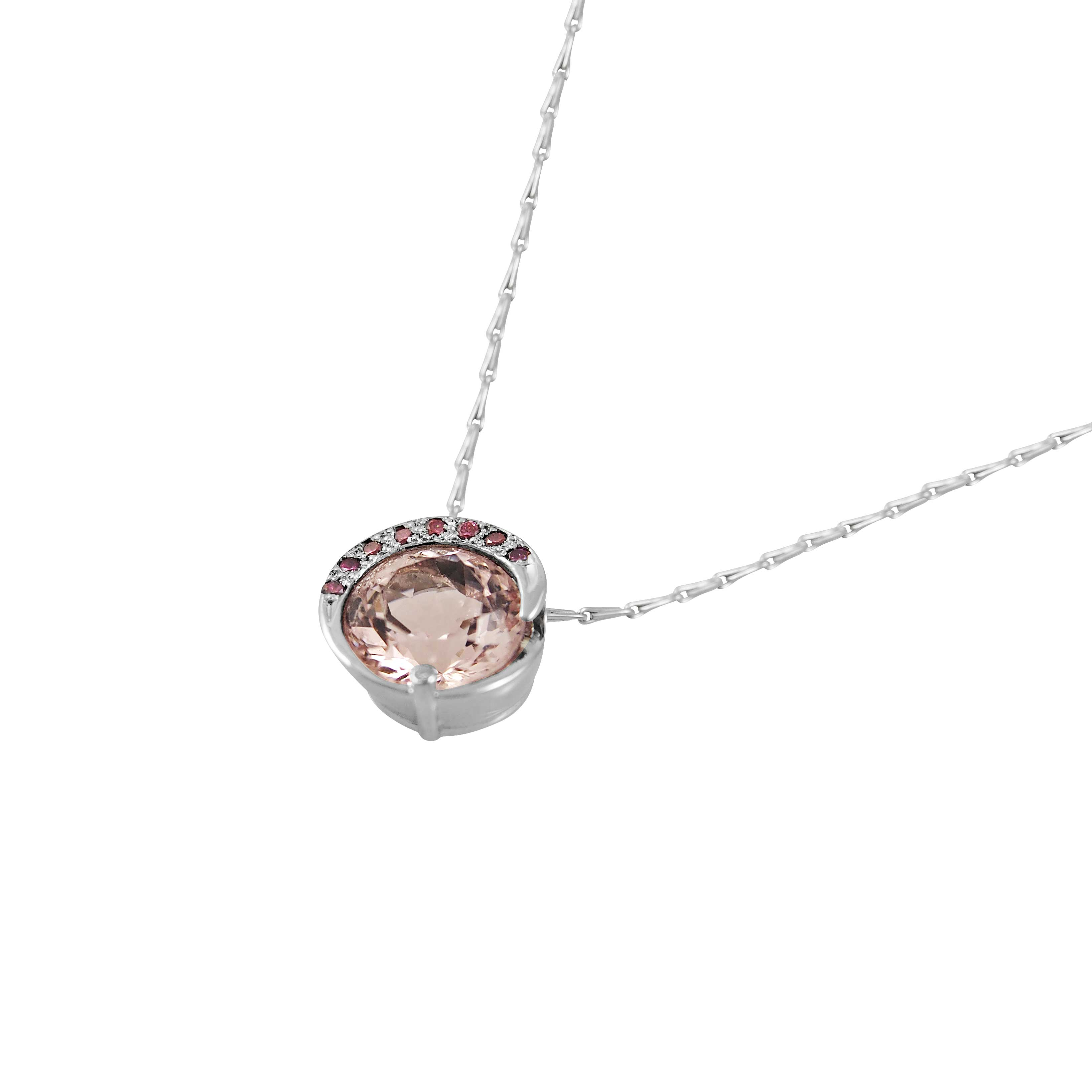 necklace rose round pendant halo necklaces morganite diamond l